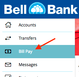 Bill Pay tab in online banking